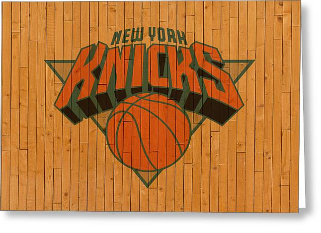Old New York Knicks Basketball Gym Floor Greeting Card