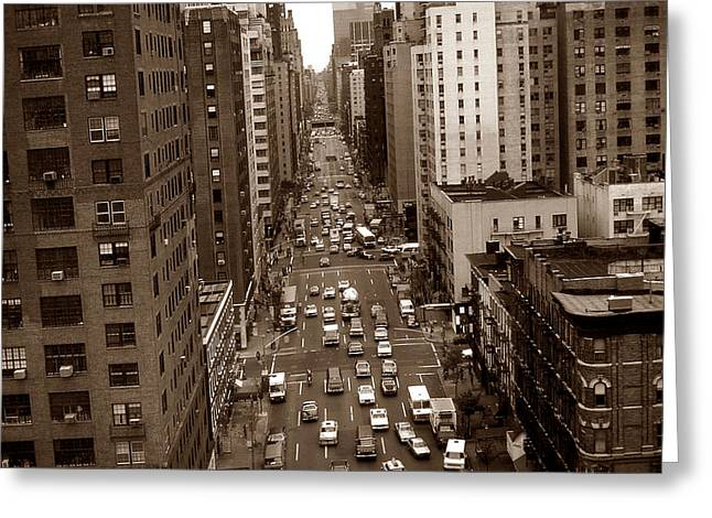 Old New York Photo - 10th Avenue Traffic Greeting Card