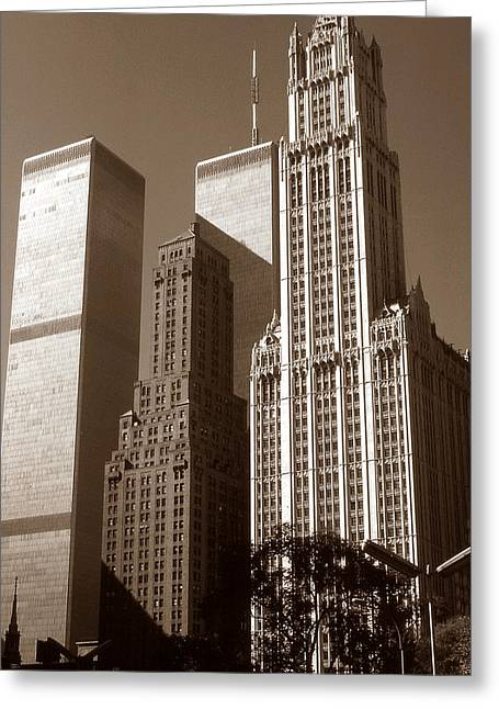Old New York Photo - Woolworth Building And World Trade Center Greeting Card