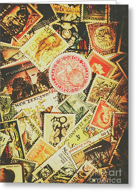 Old New Zealand Stamps Greeting Card