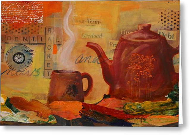 Old News And Breakfast Greeting Card by Lynn Chatman