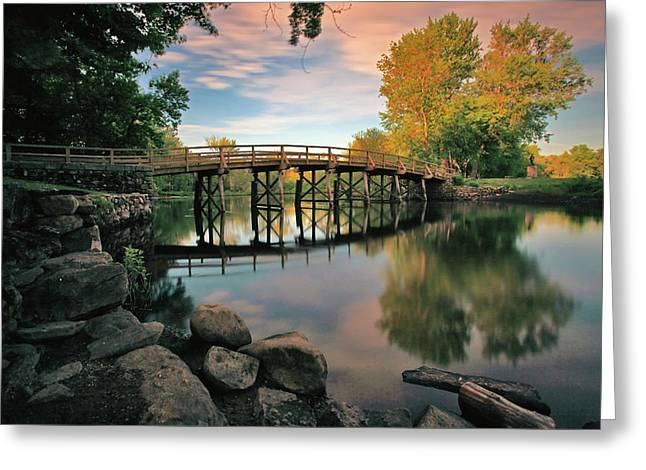 Concord Greeting Cards - Old North Bridge Greeting Card by Rick Berk