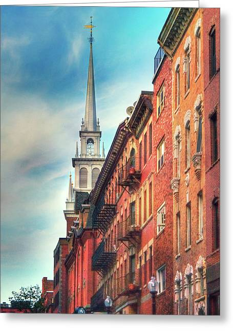 Greeting Card featuring the photograph Old North Church - Boston North End by Joann Vitali