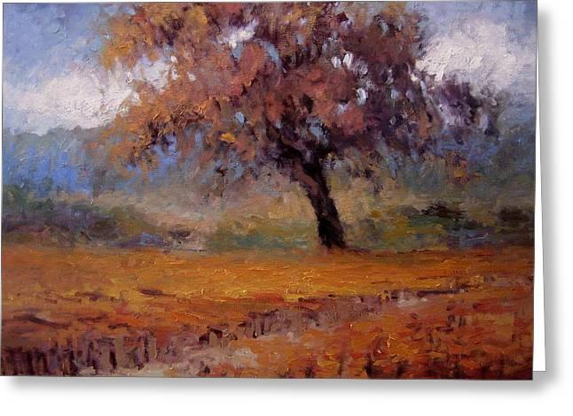 Old Oak Tree In The Vineyard Greeting Card