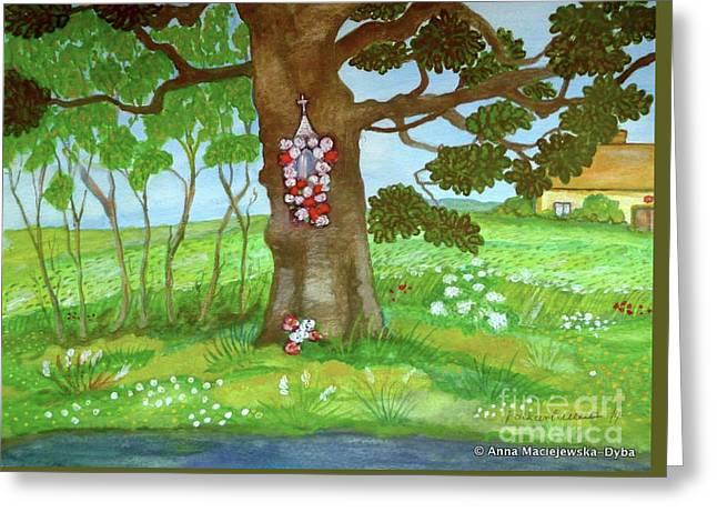 Old Oak Tree With A Roadside Shrine Greeting Card by Anna Folkartanna Maciejewska-Dyba