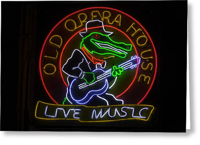 Old Opera House Neon Sign Greeting Card by Garry Gay