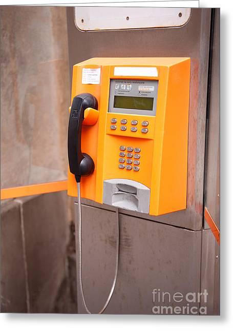 Old Orange Telephone Kiosk Greeting Card by Arletta Cwalina
