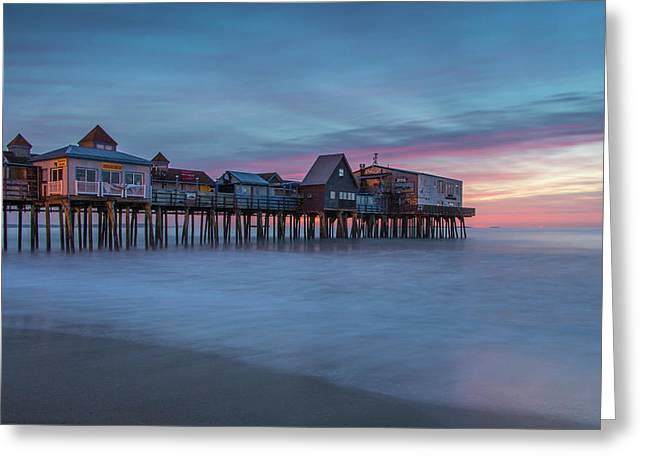 Old Orcharch Beach Pier Sunrise Greeting Card