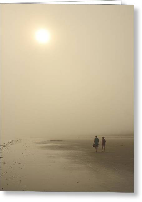 Old Orchard Beach Foggy Evening Greeting Card by John Burk