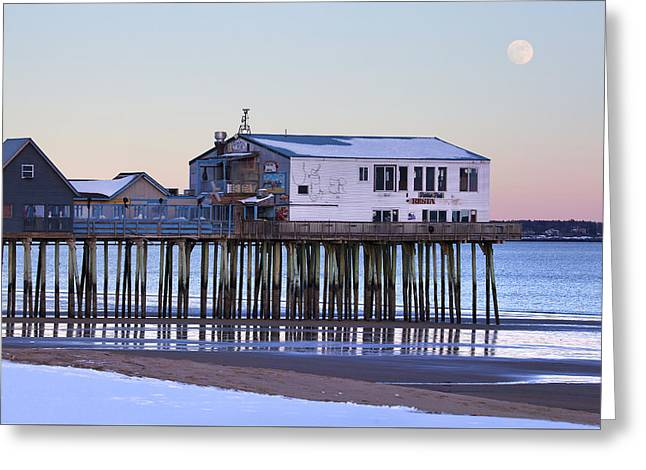 Old Orchard Beach Moonrise Greeting Card by Eric Gendron