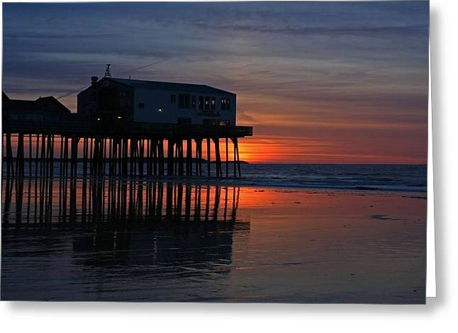 Old Orchard Beach Sunrise Greeting Card by Laurie Breton