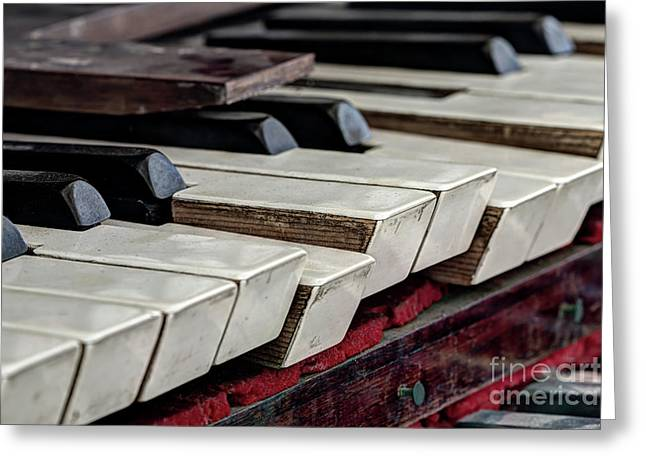 Greeting Card featuring the photograph Old Organ Keys by Michal Boubin
