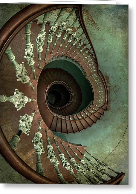 Old Ornamented Spiral Staircase Greeting Card