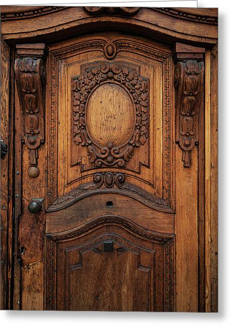 Old Ornamented Wooden Doors Greeting Card