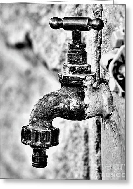 Old Outdoor Tap - Black And White Greeting Card
