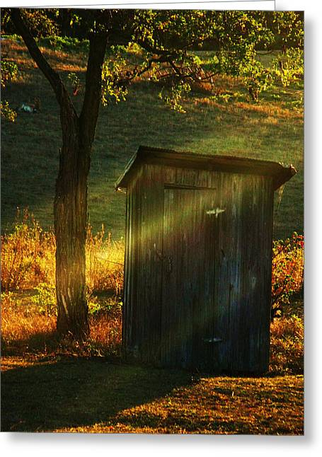 Old Outhouse At Sunset Greeting Card