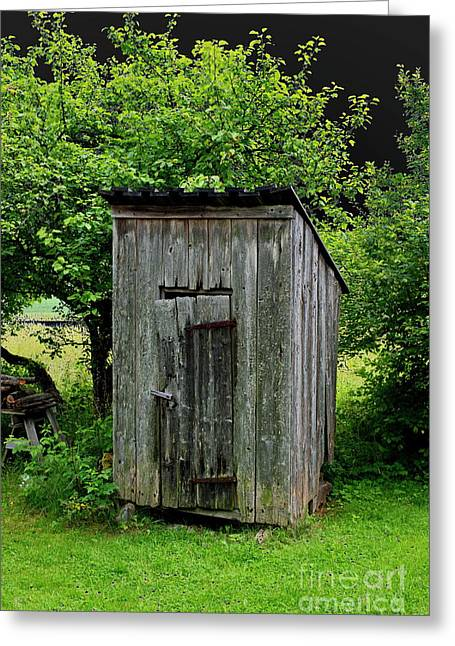 Old Outhouse Greeting Card by Esko Lindell