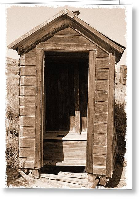 Old Outhouse In Bodie Ghost Town California Greeting Card