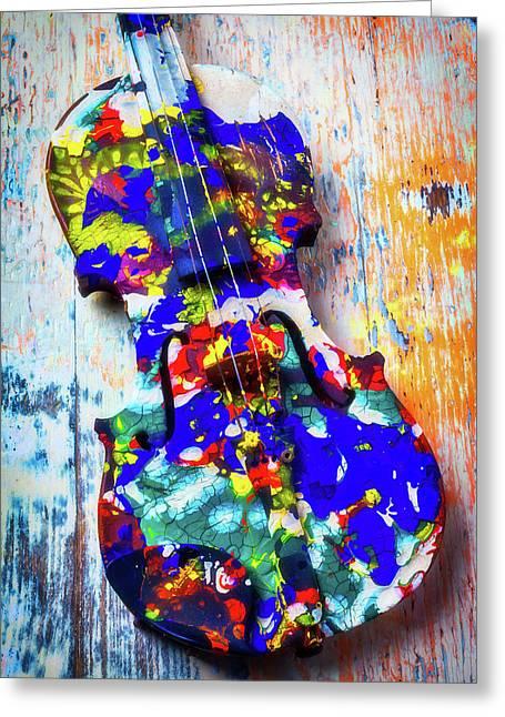 Old Painted Violin Greeting Card