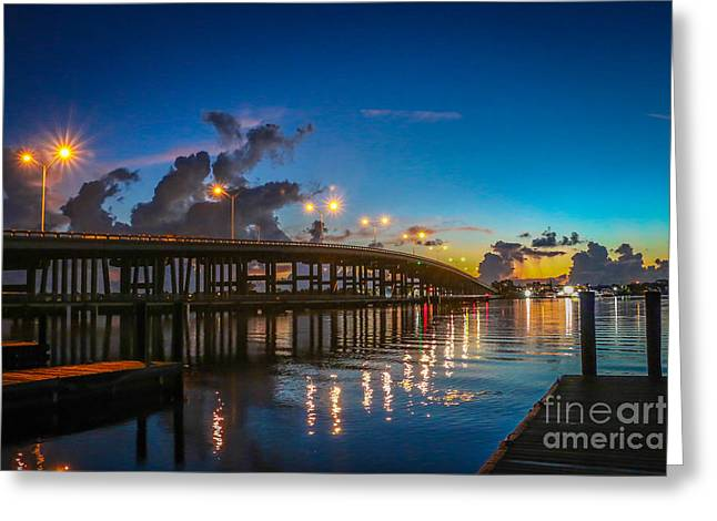 Old Palm City Bridge Greeting Card by Tom Claud
