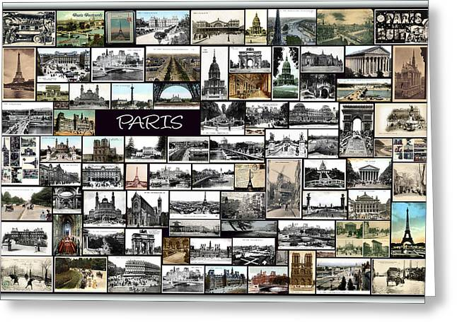 Famous Pyrography Greeting Cards - Old Paris Collage Greeting Card by Janos Kovac