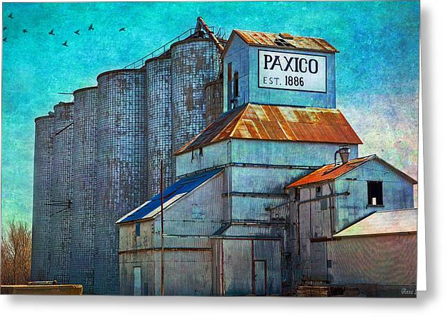 Old Paxico Kansas Grain Elevator Greeting Card