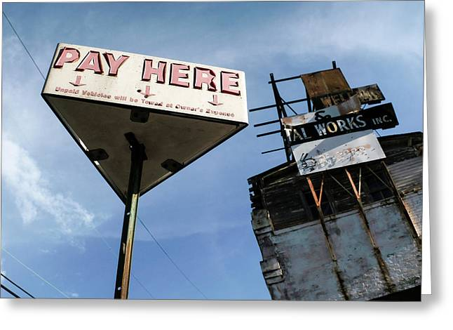 Old Pay Here Parking Sign Vintage Decay Greeting Card