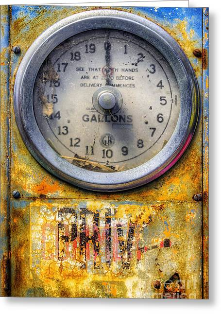 Old Petrol Pump Gauge Greeting Card by Ian Mitchell
