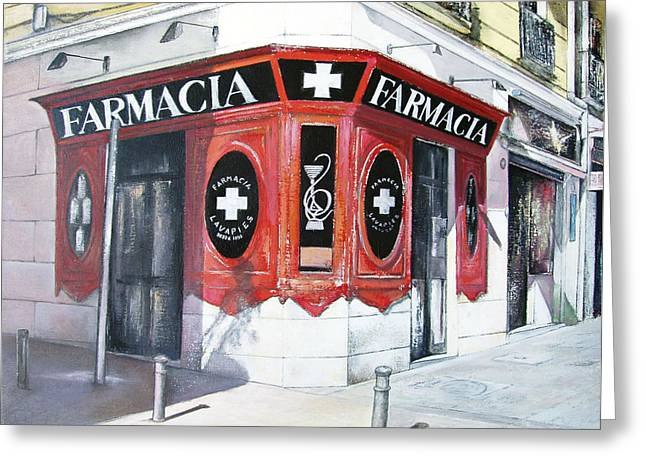 Old Pharmacy Greeting Card by Tomas Castano