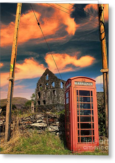 Old Phone Box In Cwmystradllyn  Greeting Card by Chris Evans