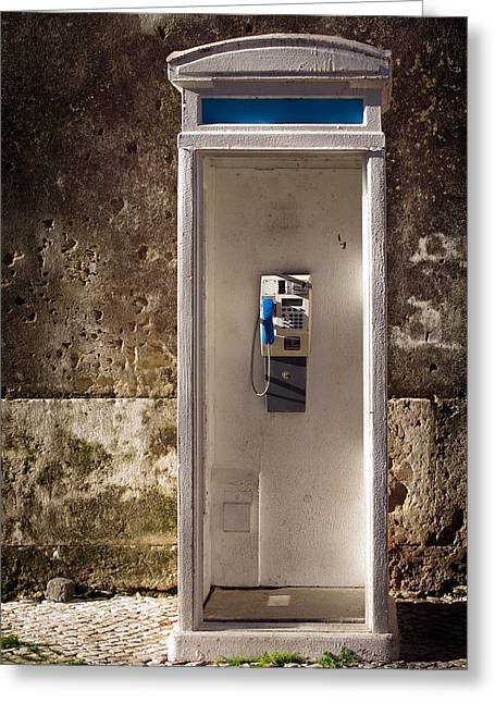 Dial Greeting Cards - Old phonebooth Greeting Card by Carlos Caetano