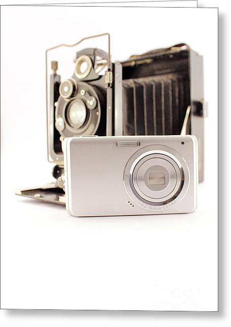 Old Photo Camera And New Compact Camera Greeting Card