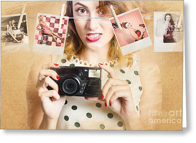 Old Photo Collection Pin-up Greeting Card