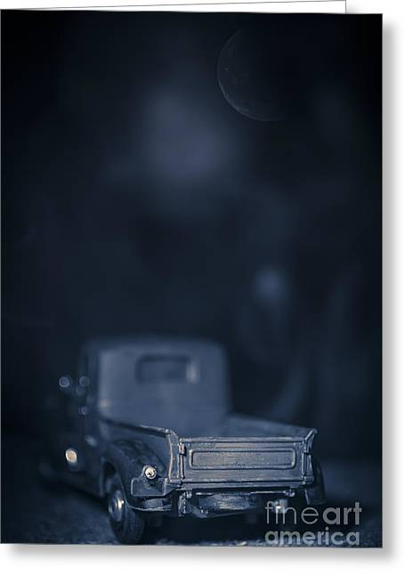 Old Pick Up Truck Under The Moonlight Greeting Card by Edward Fielding