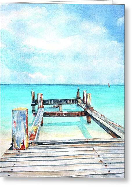 Greeting Card featuring the painting Old Pier On Grace Bay At Club Med     by Carlin Blahnik CarlinArtWatercolor
