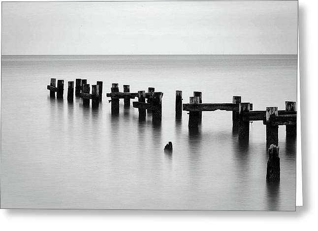 Old Pilings Black And White Greeting Card