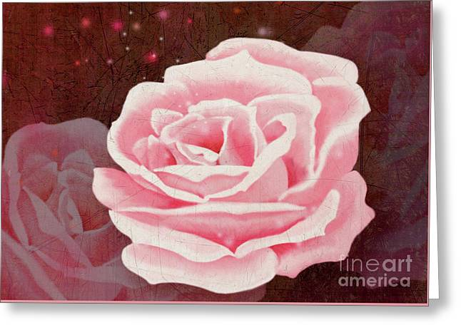 Greeting Card featuring the digital art Old Pink Rose by Mariella Wassing