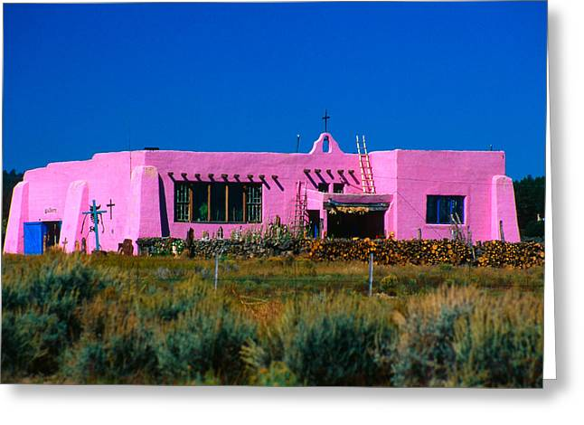 Old School Houses Greeting Cards - Old Pink Schoolhouse Gallery Tres Piedras NM Greeting Card by Troy Montemayor