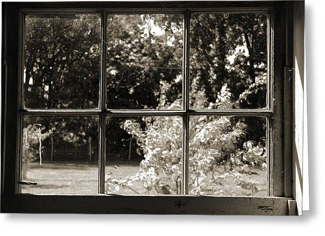 Greeting Card featuring the photograph Old Pitted Glass Window 2 by Joanne Coyle