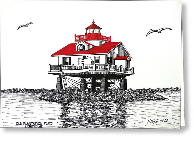 Plantations Drawings Greeting Cards - Old Plantation Flats Lighthouse Drawing Greeting Card by Frederic Kohli