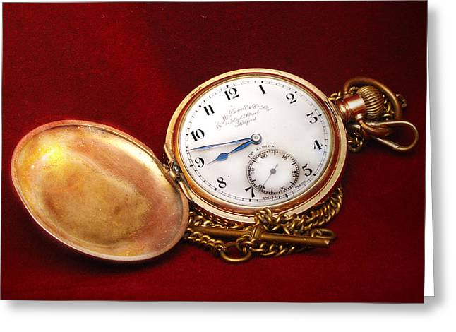 Old Pocket Watch Greeting Card by Peter Jenkins