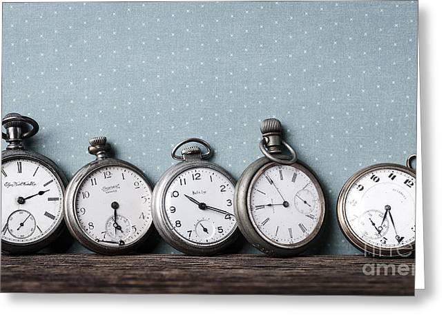 Old Pocket Watches On A Shelf Greeting Card by Edward Fielding