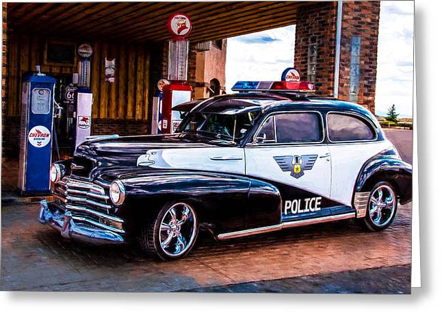 Old Police Cruiser Greeting Card