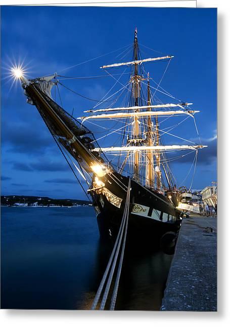 Docked Sailboats Greeting Cards - Old port Mahon and Italian sail training vessel Palinuro at dawn hdr Greeting Card by Pedro Cardona