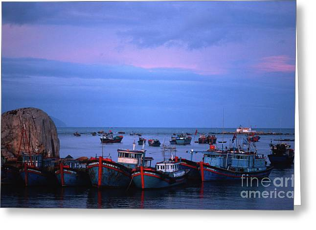 Greeting Card featuring the photograph Old Port Of Nha Trang In Vietnam by Silva Wischeropp