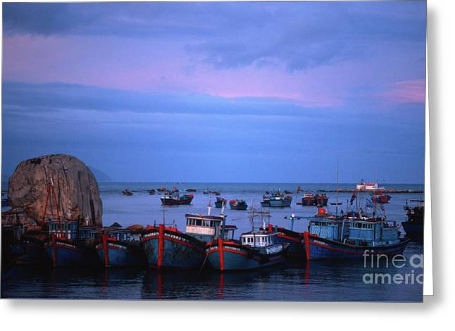 Old Port Of Nha Trang In Vietnam Greeting Card