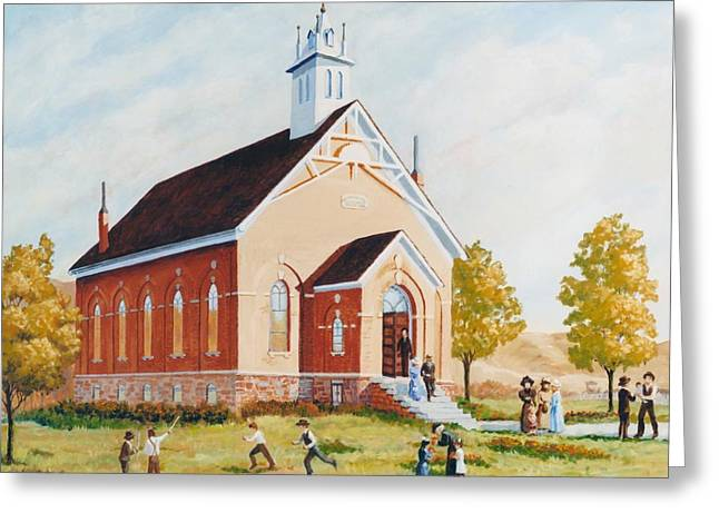 Old Porterville Church Summer Greeting Card by JoAnne Corpany
