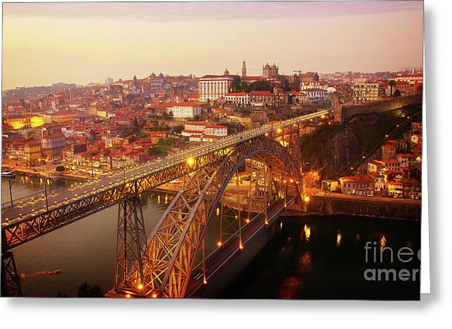 old Porto at  Pink Sunset, Portugal Greeting Card