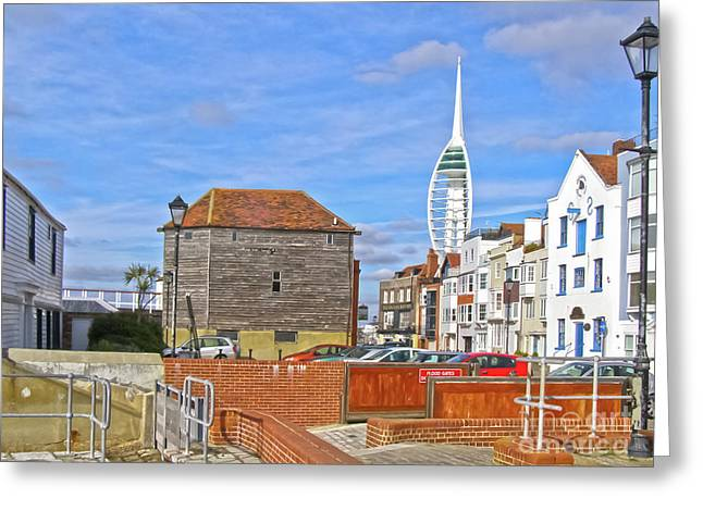 Old Portsmouth Flood Gates Greeting Card by Terri Waters
