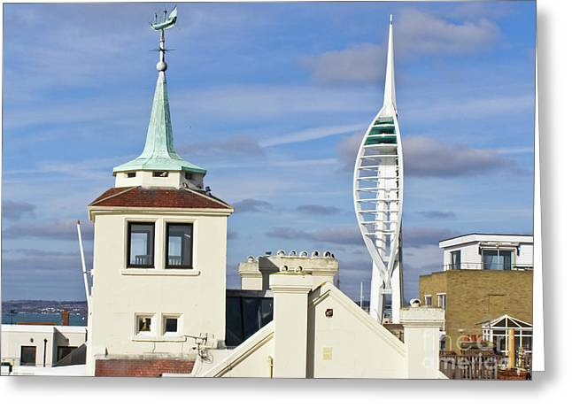 Old Portsmouth's Towers Greeting Card by Terri Waters